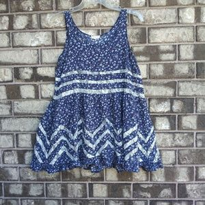 Tea & cup blue babydoll top size small
